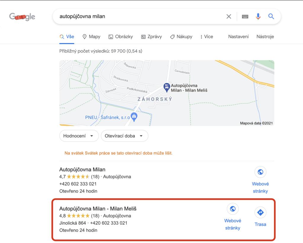 Autopůjčovna Milan Google vyhledávání